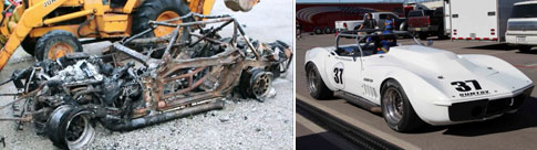 Clairs car after the fire, and rebuilt