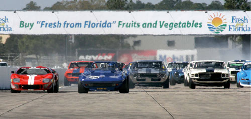 The start of the Sebring vintage feature race
