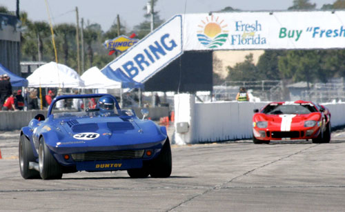 The Duntov Corvette Grand Sport in front of a GT40 at Sebring